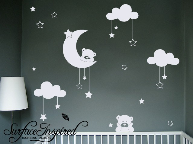 Enchanting Night Sky View Cuddly Bear With Stars And Cloud Wall Decal Via Etsy Er Surfaceinspired